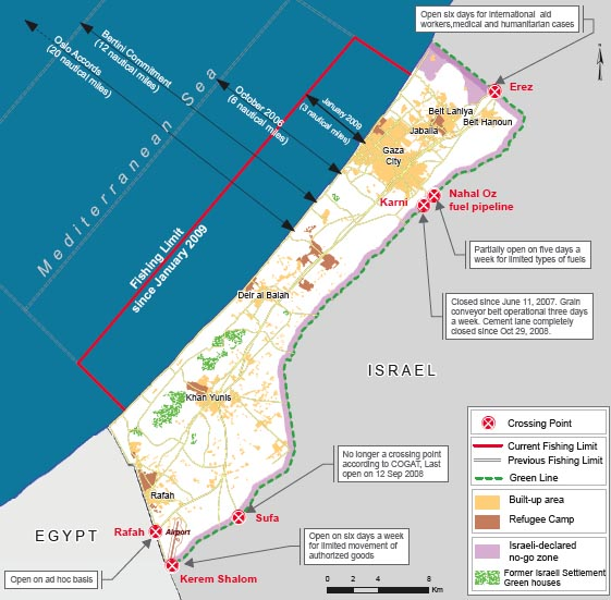gaza blocade map - ocha 2009